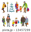 買い物客 冬 家族,多世代 13457299