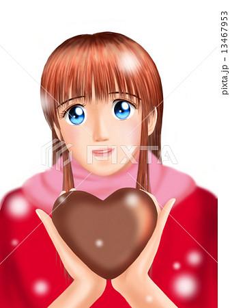 バレンタインのチョコをもつ若い女性(私服 雪 マフラー 背景なし) 13467953