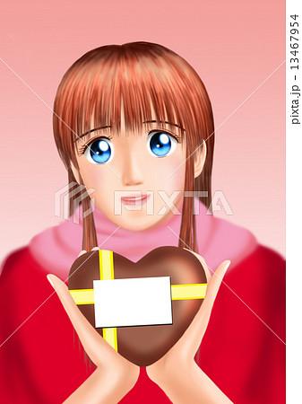 バレンタインのチョコをもつ若い女性(私服 マフラー) 13467954
