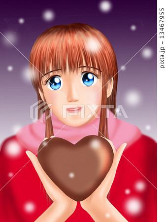 バレンタインのチョコをもつ若い女性(私服 雪 マフラー) 13467955