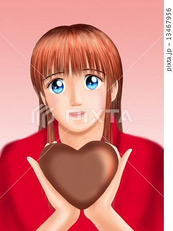 バレンタインのチョコをもつ若い女性(私服) 13467956