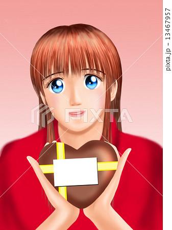 バレンタインのチョコをもつ若い女性(私服) 13467957