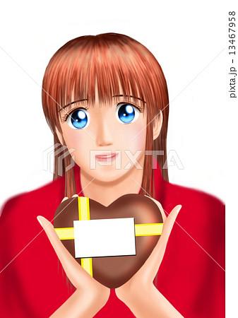 バレンタインのチョコをもつ若い女性(私服 背景なし) 13467958