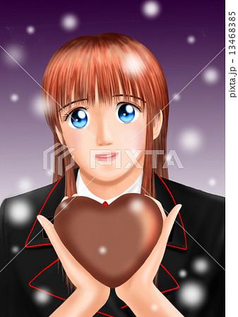バレンタインのチョコをもつ若い女性(制服 雪) 13468385