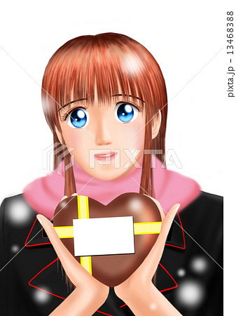 バレンタインのチョコをもつ若い女性(制服 雪 マフラー 背景なし) 13468388