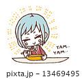 美味しい 女性 食べるのイラスト 13469495