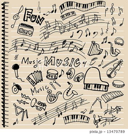 楽器らくがきノートのイラスト素材 13470789 Pixta