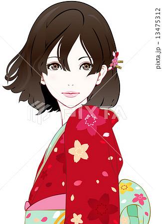 着物の女性 風 真顔のイラスト素材 13475312 Pixta
