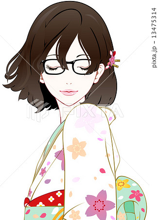 眼鏡の着物女性 風 目を閉じるのイラスト素材 13475314 Pixta