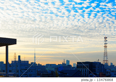 青空にうろこ雲が広がる早朝の下町と東京スカイツリー 13476868