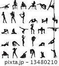silhouettes of girls dancing on a pole and go-go 13480210
