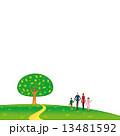 丘 木 家族 背景 草原 イラスト 13481592