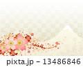 桜と富士山とプラチナ色の市松模様 13486846