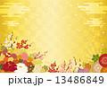 金色の背景と満開の花 13486849