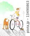 愛犬 ベクター 自転車のイラスト 13490863