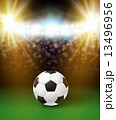 Abstract soccer football poster. Stadium background with bright 13496956