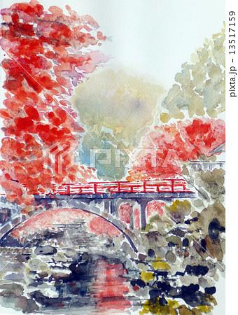 清流の赤い橋 13517159