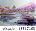 春の大阪城のスケッチ 13517163