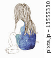 Little girl in a watercolor dress sitting 13555330