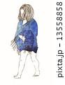 Little girl in a watercolor dress sitting 13558858