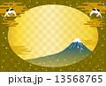 富士山と鶴と金色の背景 13568765