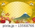 富士山と鶴と花の背景 13568766