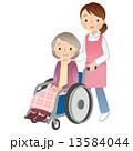 車椅子に乗る高齢者 介護 13584044