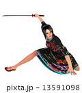 中国人 チャイナドレス 剣士のイラスト 13591098