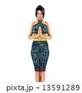 チャイナドレス 中国人 チャイナ服のイラスト 13591289