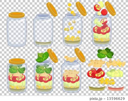 ボトルサラダ作成過程と具材 13596629
