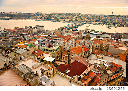 Sunset over Istanbul from Galata tower, Turkey.