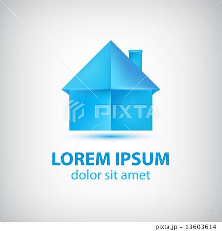 vector paper origami blue house iconのイラスト素材 13603614 pixta