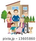 車椅子 三世代家族 人物のイラスト 13605860