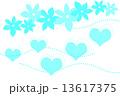 イラスト ハートと花 水色 13617375