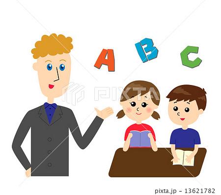 英語を教える外国人の先生と席に着く子どもたちのイラスト素材 ...