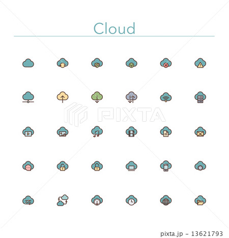 Cloud Colored Line Icons 13621793