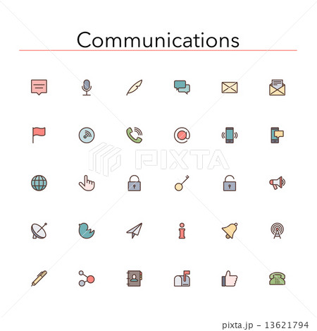Communications Colored Line Icons 13621794