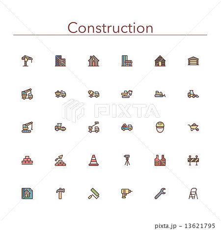 Construction Colored Line Icons 13621795