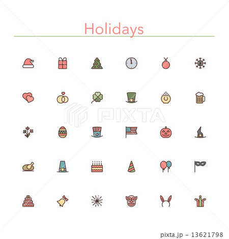 Holidays Colored Line Icons 13621798