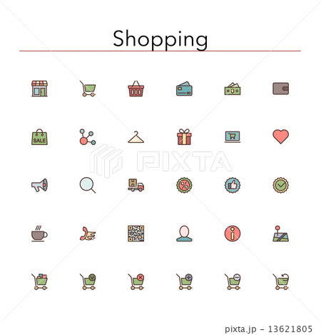 Shopping Colored Line Icons 13621805