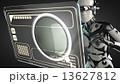 robot woman manipulating hologram display 13627812