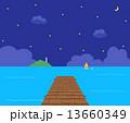 桟橋 海 夜空 13660349