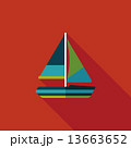Transportation sailboat flat icon with long shadow,eps10 13663652