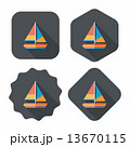 Transportation sailboat flat icon with long shadow,eps10 13670115