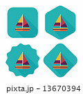 Transportation sailboat flat icon with long shadow,eps10 13670394