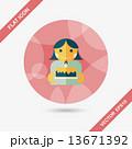 ケーキ 女の子 お祝いのイラスト 13671392