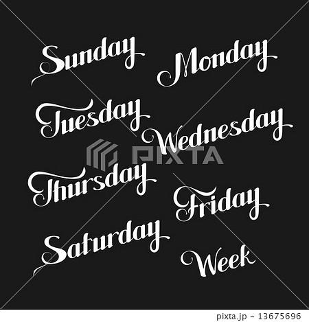 vector typographic illustration of handwritten days of the week