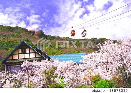 春の須磨浦山頂からロープウェイが通る 13678056