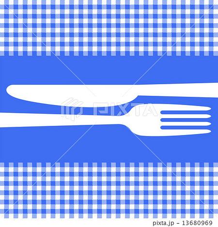 Cutlery on blue tableclothのイラスト素材 [13680969] - PIXTA
