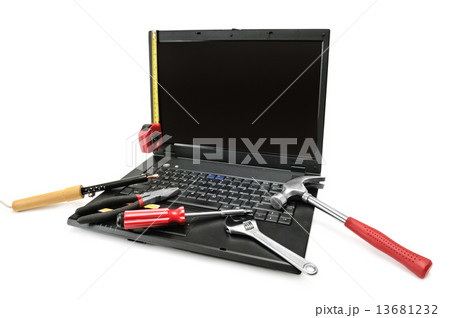 Computer repair with set of tools.の写真素材 [13681232] - PIXTA